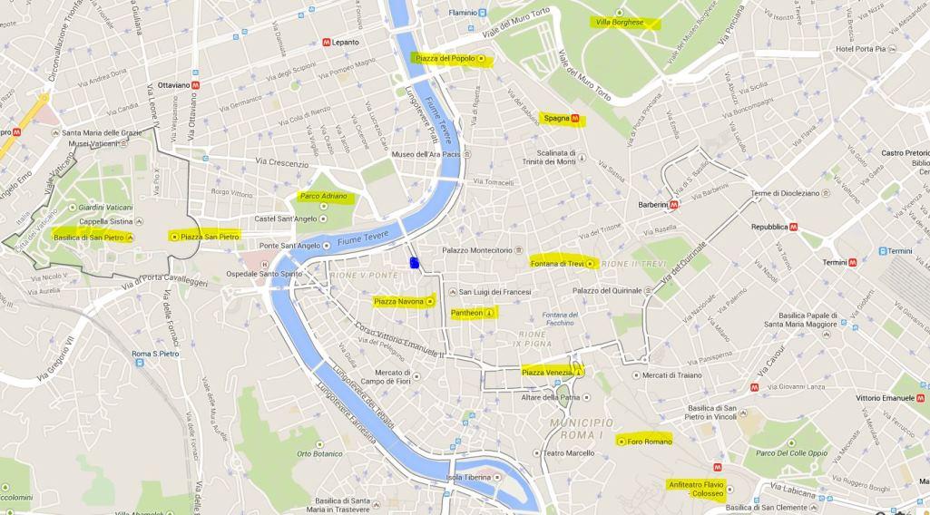 karta över centrala rom Rom 2015 27/4   2/5 karta över centrala rom